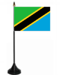 Tanzania Desk / Table Flag with plastic stand and base.